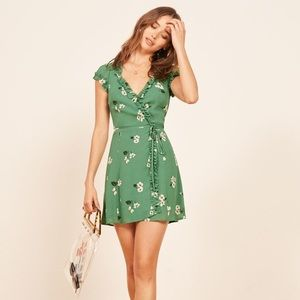 NWT Reformation Garnet Mini Wrap Dress (L)